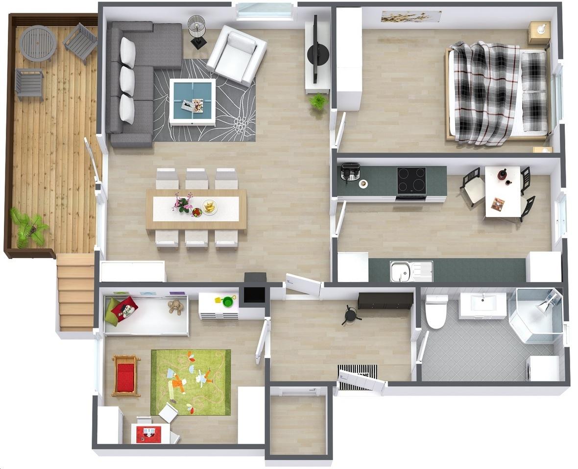 2 Bedroom 30-ft Wide House Plans in 3D