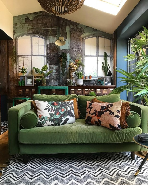 Cozy Room Painting Ideas for Tropical Room Concept With Green Couch