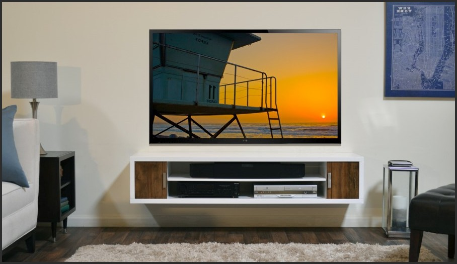 Giant Modern Wall Mounted Tv Shelves Ideas With Table Lamp On The Side and great Photo Frame Behind