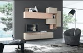 Modern and Fashionable Wall Mounted Tv Storage Ideas From Wood Color Material With Grey Paint Wall Behind also Amazing Couches and Study table Lamp