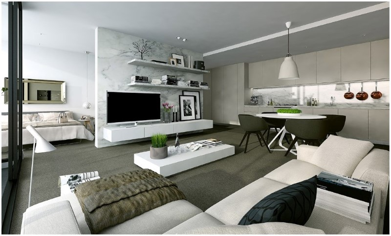 Gray and Black Decorating A Studio Apartment For Two