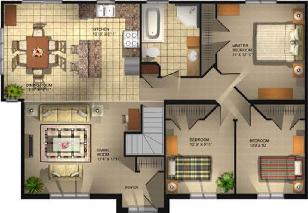 3 Bedroom Bungalow Floor Plans Open Concept Plans Pictures