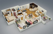 3D 40X60 House Plans Complete with Garage