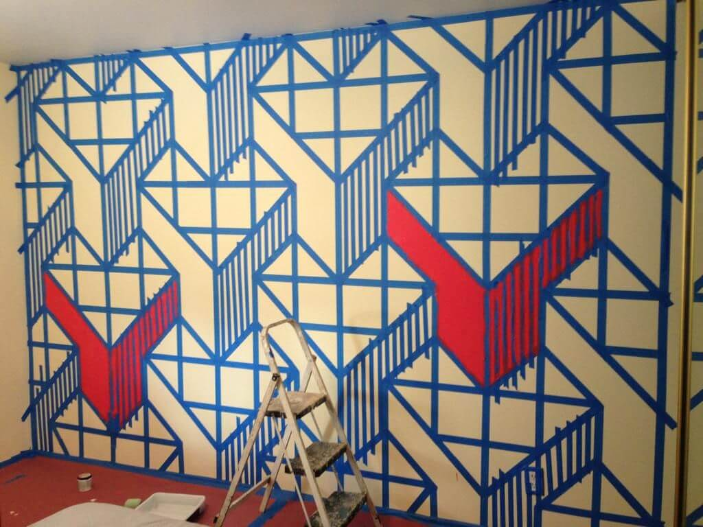 Contemporary Wall Design Using Painters Tape