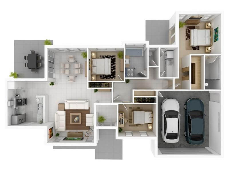 3D images 800 Sq Ft House Plans with Car Parking