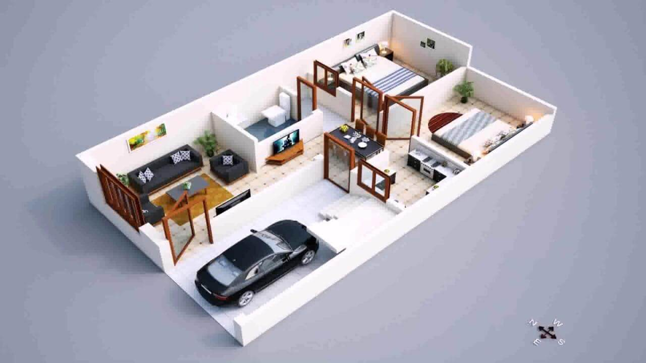Modern 800 Sq Ft House Plans with Car Parking