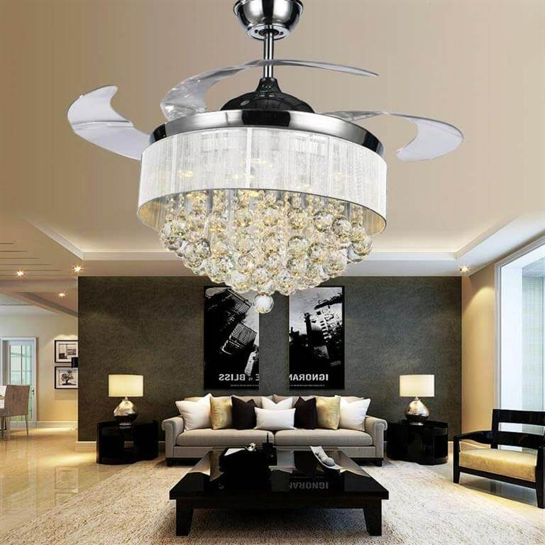 Chandelier With Ceiling Fan Attached For Livingroom Area