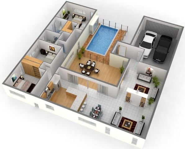 1500 Sq Ft House Plans With Swimming Pool 3D Images