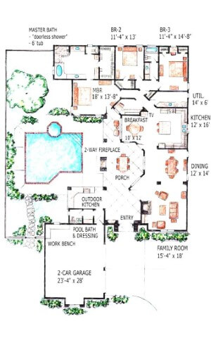 1500 Sq Ft House Plans With Swimming Pool Indoor