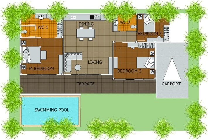 1500 Sq Ft House Plans With Swimming Pool and Budget Plan