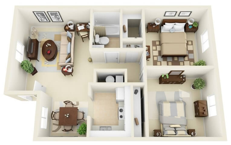 2 bedroom house designs 3D For Condo