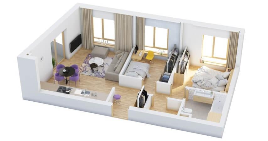 2bedrooms 3d vibricate house plans images