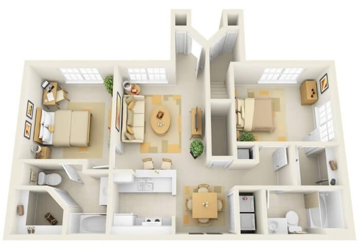 home design 3d for 2 bedroom condo