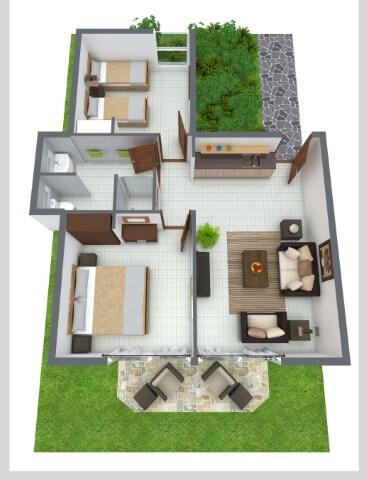 luxury two bedroom plan 3d