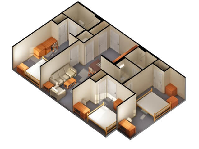 simple house plan with 2 bedrooms and garage 3d